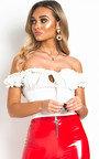 Kora Frill Bardot Tie Crop Top Thumbnail