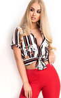 Kora Tie Striped Sleeved Tropical Crop Top Thumbnail