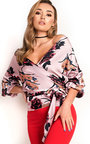 Kylie  Floral Ruffled Kimono Wrap Top Thumbnail
