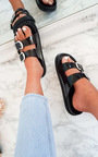 Lacey Double Buckled Slip On Sandal  Thumbnail
