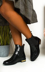 Laila Croc Print Patent Ankle Boots Thumbnail