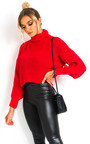 Lana Chunky Knit High Neck Cropped Jumper Thumbnail