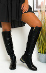 Laney Faux Leather Knee High Buckle Boots Thumbnail