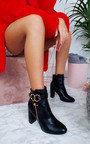 Lani Ring Buckle Block Heel Ankle Boots Thumbnail