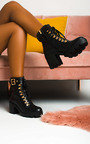 Lara Lace Up Heeled Boots  Thumbnail