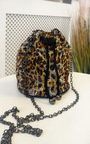 Lara Leopard Diamante Pouch Bag Thumbnail