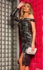 Larah One Shoulder Sequin Midi Dress  Thumbnail
