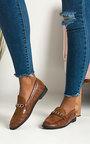 Larsa Faux Leather Brogue Flats Thumbnail