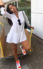 Larsa Linen Frill Shift Dress Thumbnail
