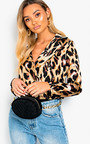 Larson Leopard Print Satin Bodysuit Thumbnail