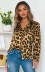Laura Button Front Print Blouse Shirt Thumbnail