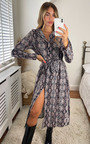Laura Snake Print Side Split Shirt Dress Thumbnail