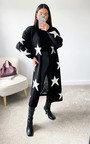 Lauren Star Print Longline Knitted Cardigan Thumbnail