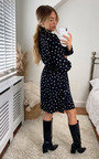Laurie Dotted Printed High Neck Dress Thumbnail