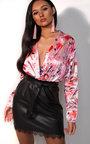 Leah Floral Satin Bodysuit Thumbnail