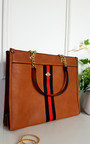 Leanne Faux Leather Chain Shoulder Bag with Stripe Detail  Thumbnail