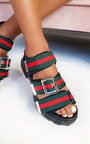 Leigh Chunky Striped Buckle Sandals Thumbnail