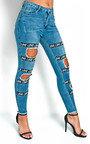 Leila Love Slogan Distressed Jeans  Thumbnail