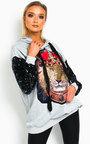 Leo Sequin Embellished Oversized Hooded Jumper Thumbnail