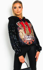 Leo Sequin Embellished Oversized Hooded Jumper Thumbnail