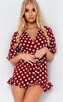 Lesley Plunge Polka Dot Frill Playsuit Thumbnail