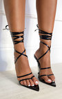 Leti Lace Up Pointed High Heels Thumbnail