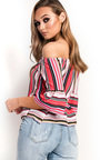 Lexi Off Shoulder Stripe Frill Top Thumbnail
