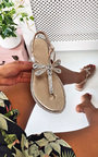 Liliana Diamante Embellished T-Bar Sandals  Thumbnail