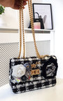 Lilly Flower Embellished Tweed Shoulder Bag Thumbnail