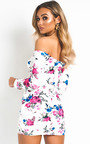 Lina Floral Gathered Bodycon Dress Thumbnail