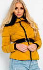 Lina Padded Faux Fur Hood Belted Jacket Thumbnail