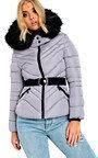 Lina Padded Faux Fur Hood Belted Jacket Thumbnail