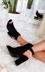Linds Suedette Peep Toe Ankle Boot Thumbnail