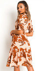 Liv Printed Frill Midi Dress Thumbnail