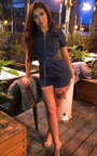 Lizzy Zip Up Denim Playsuit  Thumbnail
