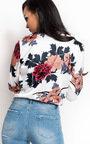 Loratina Floral Satin Bodysuit Thumbnail