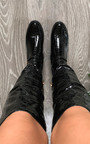 Lorna Faux Leather Croc Print Knee High Boots Thumbnail
