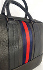 Lorraine Faux Leather Bowler Bag with Navy and Red Stripe Detail Thumbnail