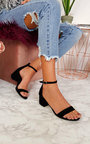 Lulu Barely There Faux Suede Block Heels  Thumbnail