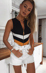 Luna Stripe Zip Front Bodysuit Thumbnail