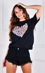 Lydia Heart Printed T-Shirt Thumbnail