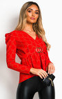 Lyly Ruffled Shoulder Sleeve Top Thumbnail