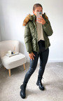 Lynette Belted Padded Jacket with Faux Fur Hood Thumbnail