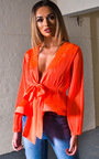 Macey Mesh Kimono Peplum Top Thumbnail