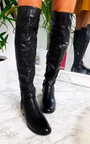 Mads Faux Leather Lace Back Knee High Boots Thumbnail