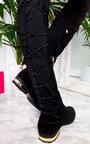 Mads Faux Suede Lace Back Knee High Boots Thumbnail