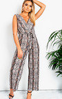 Mads Plunge Crimped Wide Leg Stretch Jumpsuit Thumbnail