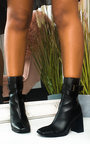 Maggie Faux Leather Buckle Heeled Boots  Thumbnail