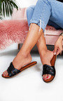 Maggie Faux Leather Slip On Sandals Thumbnail