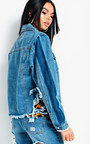 Mallin Distressed Striped Denim Jacket Thumbnail